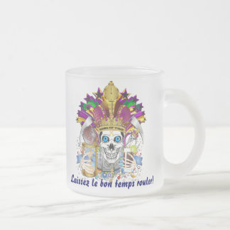 Mardi Gras Dual Design 2 Kings View Notes Please 10 Oz Frosted Glass Coffee Mug