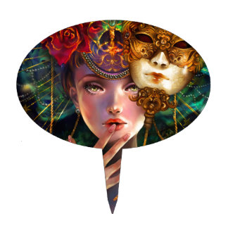 Mardi Gras Fancy Surreal Masquerade Mask Girl Art Cake Topper