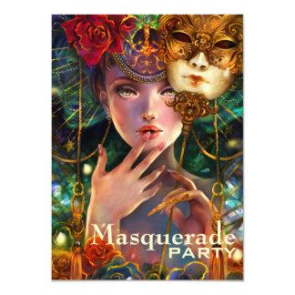 Mardi Gras Fancy Surreal Masquerade Mask Girl Art Card