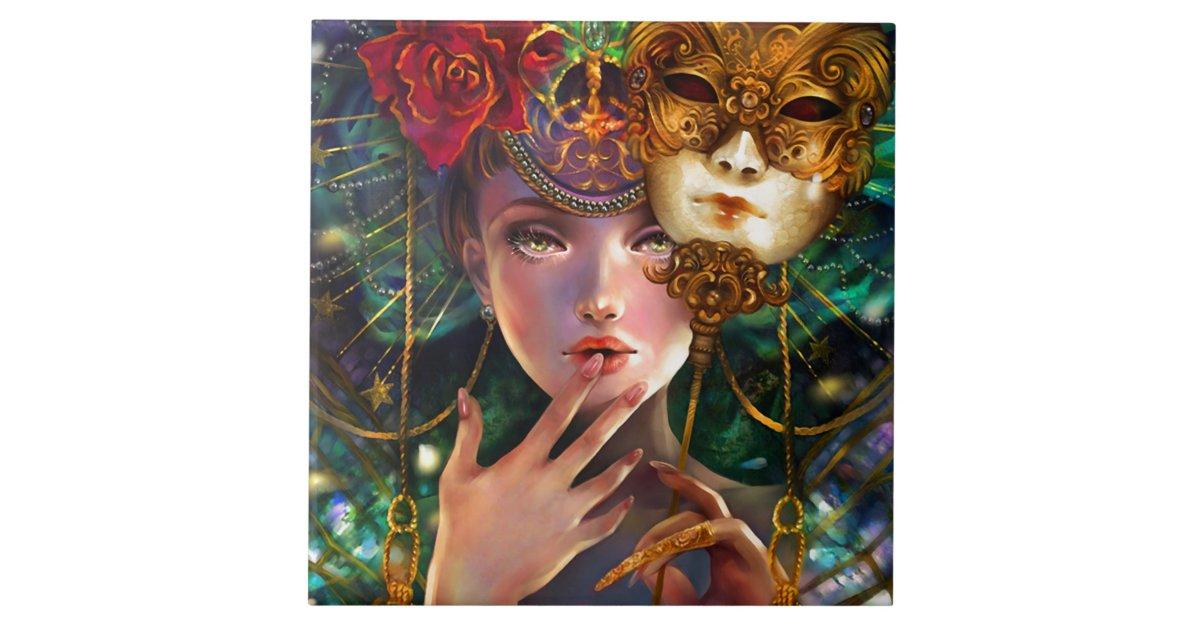 Mardi Gras Fancy Surreal Masquerade Mask Girl Art Ceramic Tile