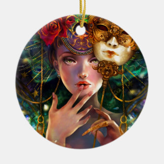 Mardi Gras Fancy Surreal Masquerade Mask Girl Art Double-Sided Ceramic Round Christmas Ornament
