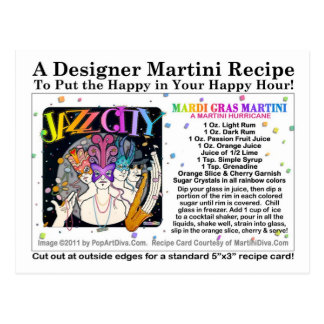 Mardi Gras - Fat Tuesday Martini Recipe Card