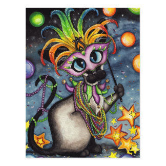 Mardi Gras Fat Tuesday Siamese Cat Postcard
