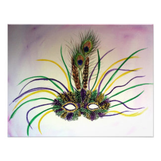 Mardi Gras Feather Mask Invitation or Invites