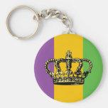 Mardi Gras Flag Crown Basic Round Button Keychain