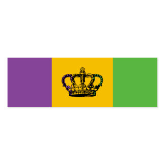 Mardi Gras Flag Crown Double-Sided Mini Business Cards (Pack Of 20)