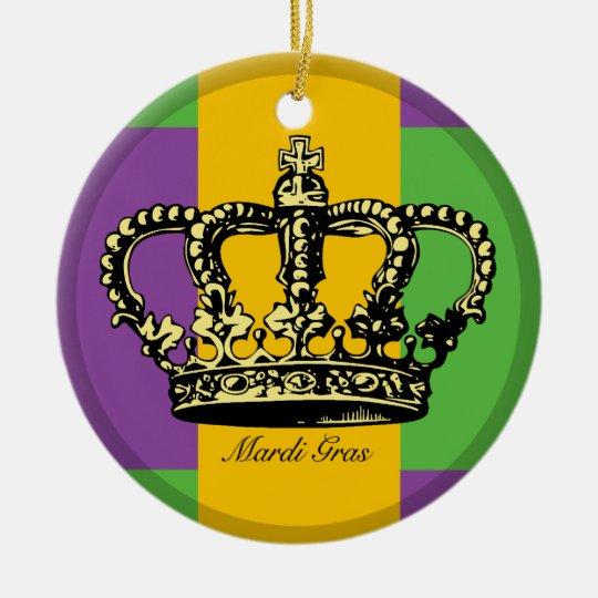 Mardi Gras Flag Crown Ceramic Ornament