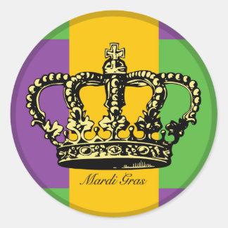 Mardi Gras Flag Crown Classic Round Sticker