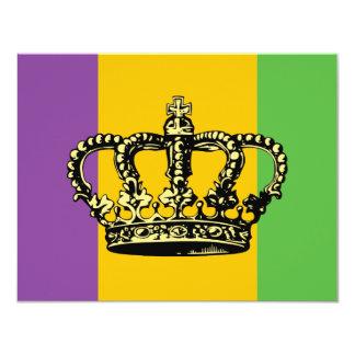 Mardi Gras Flag Crown Personalized Invitation