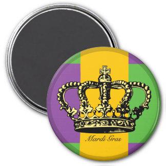 Mardi Gras Flag Crown 3 Inch Round Magnet