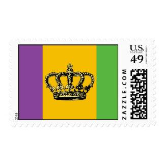 Mardi Gras Flag Crown Stamp