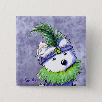 Mardi Gras Flapper Westie Button