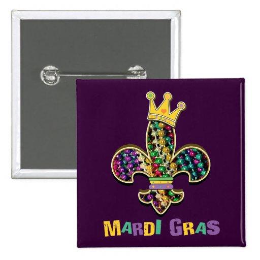 Mardi Gras Fleur Celebrate 2 Inch Square Button