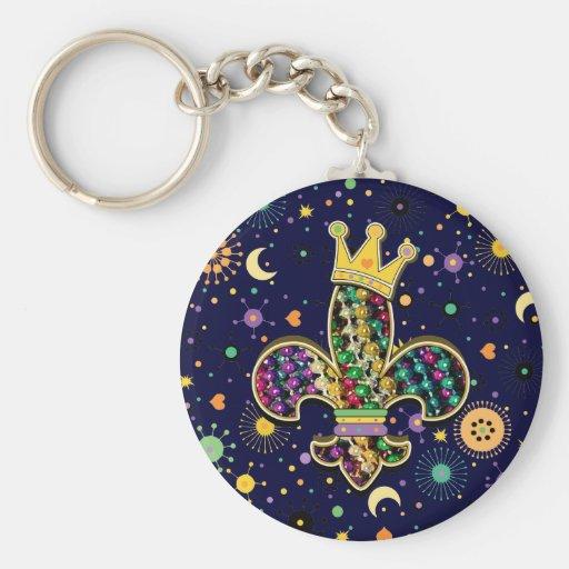 Mardi Gras Fleur Celebrate Basic Round Button Keychain