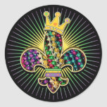 Mardi Gras Fleur Celebrate Classic Round Sticker