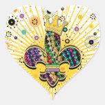 Mardi Gras Fleur Celebrate gifts Heart Stickers