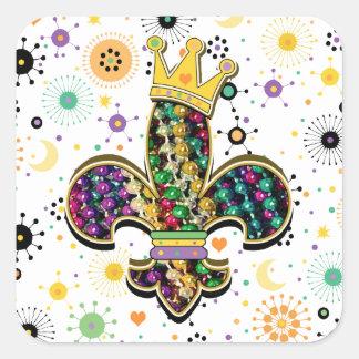 Mardi Gras Fleur Celebrate gifts Square Sticker