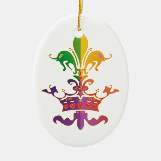 Mardi Gras Fleur de Crown Ceramic Ornament