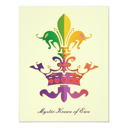 Mardi Gras Fleur de Crown 4.25x5.5 Paper Invitation Card ...