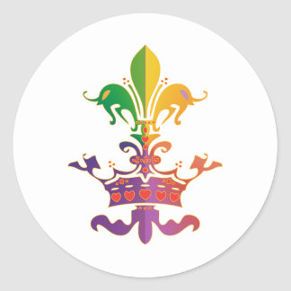 Mardi Gras Fleur de Crown Classic Round Sticker