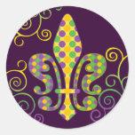 Mardi Gras Fleur de Dots Classic Round Sticker