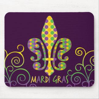 Mardi Gras Fleur de Dots Mouse Pad