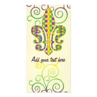 Mardi Gras Fleur de Dots Customized Photo Card