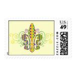 Mardi Gras Fleur de Dots Postage Stamp