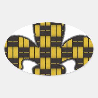 Mardi Gras Fleur De Lis Black Gold Oval Sticker