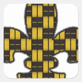 Mardi Gras Fleur De Lis Black Gold Square Sticker