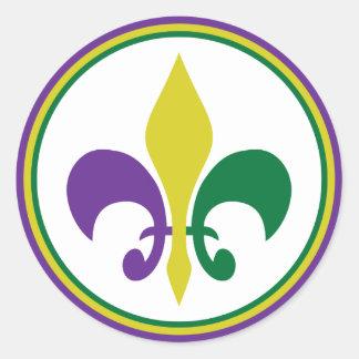 Mardi Gras ~ Fleur De Lis Classic Round Sticker