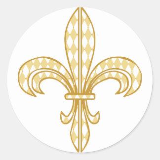 Mardi Gras Fleur De Lis Classic Round Sticker