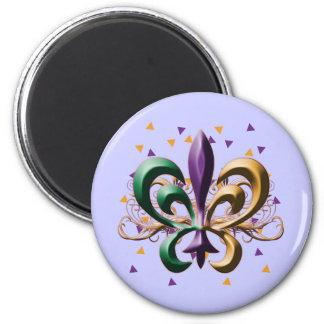 Mardi Gras Fleur de Lis Design 2 Inch Round Magnet