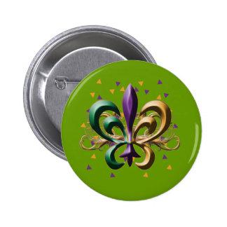 Mardi Gras Fleur de Lis Design Buttons