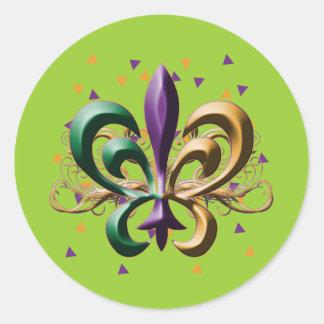 Mardi Gras Fleur de Lis Design Classic Round Sticker