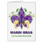 Mardi Gras Fleur-de-Lis Grunge Greeting Card