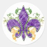 Mardi Gras Fleur-de-Lis Grunge Sticker