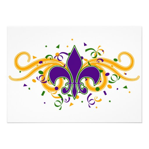 """Mardi Gras Fleur-de-Lis Invitation 5"""" X 7"""" Invitation Card ..."""