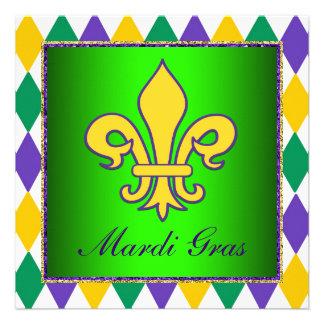 Mardi Gras Fleur De Lis Mardi Gras Party Custom Invitation