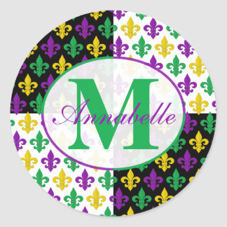 Mardi Gras Fleur-de-lis Monogram Classic Round Sticker