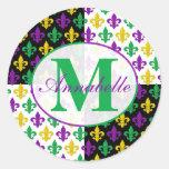 Mardi Gras Fleur-de-lis Monogram Stickers