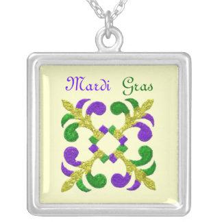 Mardi Gras Fleur de Lis Square Pendant Necklace