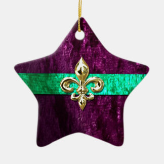 Mardi Gras Fleur De Lis New Orleans Double-Sided Star Ceramic Christmas Ornament
