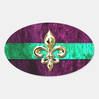 Mardi Gras Fleur De Lis New Orleans Oval Sticker