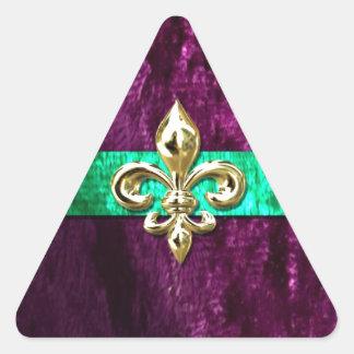 Mardi Gras Fleur De Lis New Orleans Triangle Sticker