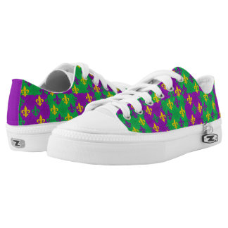 Mardi Gras Fleur-de-lis Pattern Low-Top Sneakers