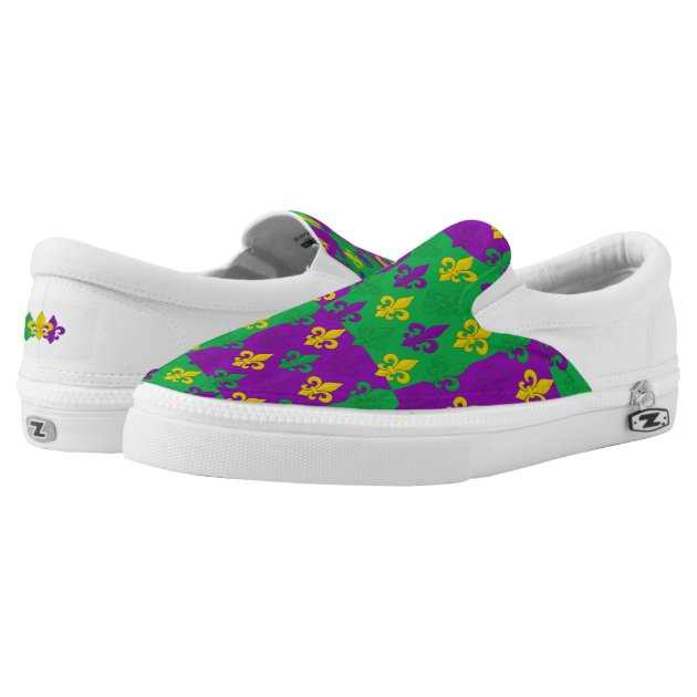 Studio Dalio - Mardi Gras Gold Purple and Green Fleur-de-lis Pattern Slip-On Shoes