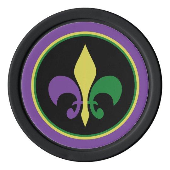 Mardi Gras ~ Fleur De Lis Poker Chips Set