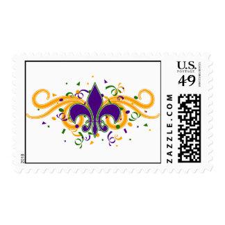 Mardi Gras Fleur-de-Lis Postage Stamp