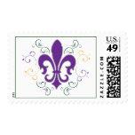 Mardi Gras Fleur De Lis Postage Stamp